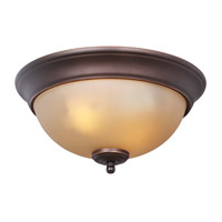 Signature 2 Light 11 inch Metropolitan Bronze Flushmount Ceiling Light in Amber Frost Glass