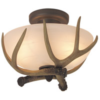 Craftmade X1611-EB Antler 2 Light 12 inch European Bronze Semi-Flushmount Ceiling Light in Alabaster Glass