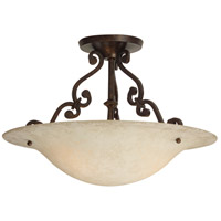 Toscana 3 Light 16 inch Aged Bronze Semi Flush Mount Ceiling Light in Antique Scavo Glass
