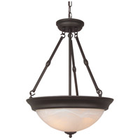 Signature 3 Light 15 inch Oiled Bronze Inverted Pendant Ceiling Light