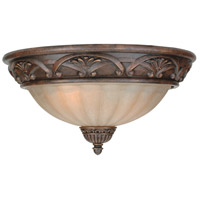 Barcelona 3 Light 16 inch Aged Bronze Flush Mount Ceiling Light in Tea-Stained Glass
