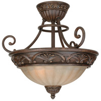 Barcelona 3 Light 18 inch Aged Bronze Semi Flush Mount Ceiling Light in Tea-Stained Glass