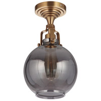 Craftmade X8308-VB Gallery State House 1 Light 8 inch Vintage Brass Semi Flush Ceiling Light in Smoked Clear Glass