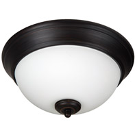 Pro Builder 2 Light 11 inch Aged Bronze Brushed Flush Mount Ceiling Light in White Frosted Glass