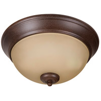 Pro Builder 2 Light 11 inch Aged Bronze Textured Flush Mount Ceiling Light in Amber Frost Glass