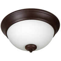 Pro Builder 2 Light 11 inch Aged Bronze Textured Flush Mount Ceiling Light in White Frosted Glass