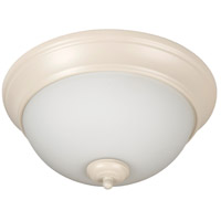 Pro Builder 2 Light 11 inch Antique White Flush Mount Ceiling Light in White Frosted Glass