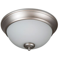 Pro Builder 2 Light 11 inch Brushed Satin Nickel Flush Mount Ceiling Light in White Frosted Glass