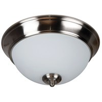 Pro Builder 2 Light 11 inch Brushed Polished Nickel Flush Mount Ceiling Light in White Frosted Glass