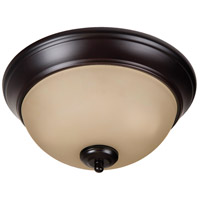 Pro Builder 2 Light 11 inch Oiled Bronze Flush Mount Ceiling Light in Amber Frost Glass
