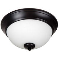 Pro Builder 2 Light 11 inch Oiled Bronze Flush Mount Ceiling Light in White Frosted Glass