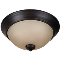 Pro Builder 2 Light 13 inch Aged Bronze Brushed Flush Mount Ceiling Light in Amber Frost Glass