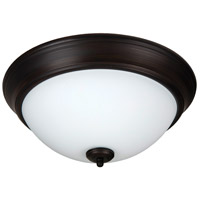 Pro Builder 2 Light 13 inch Aged Bronze Brushed Flush Mount Ceiling Light in White Frosted Glass