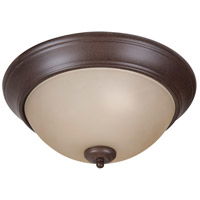 Pro Builder 2 Light 13 inch Aged Bronze Textured Flush Mount Ceiling Light in Amber Frost Glass