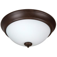 Pro Builder 2 Light 13 inch Aged Bronze Textured Flush Mount Ceiling Light in White Frosted Glass