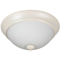 Pro Builder 2 Light 13 inch Antique White Flush Mount Ceiling Light in White Frosted Glass