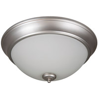 Pro Builder 2 Light 13 inch Brushed Satin Nickel Flush Mount Ceiling Light in White Frosted Glass