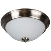Pro Builder 2 Light 13 inch Brushed Polished Nickel Flush Mount Ceiling Light in White Frosted Glass