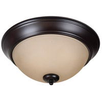 Pro Builder 2 Light 13 inch Oiled Bronze Flush Mount Ceiling Light in Amber Frost Glass