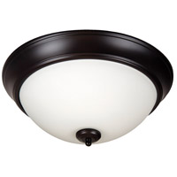 Pro Builder 2 Light 13 inch Oiled Bronze Flush Mount Ceiling Light in White Frosted Glass