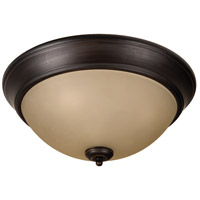 Pro Builder 3 Light 15 inch Aged Bronze Brushed Flush Mount Ceiling Light in Amber Frost Glass