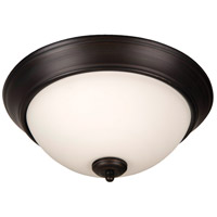Pro Builder 3 Light 15 inch Aged Bronze Brushed Flush Mount Ceiling Light in White Frosted Glass