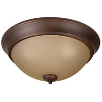 Pro Builder 3 Light 15 inch Aged Bronze Textured Flushmount Ceiling Light in Amber Frost Glass