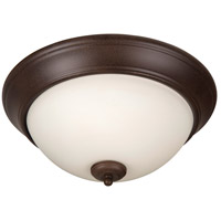 Pro Builder 3 Light 15 inch Aged Bronze Textured Flush Mount Ceiling Light in White Frosted Glass
