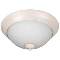 Pro Builder 3 Light 15 inch Antique White Flush Mount Ceiling Light in White Frosted Glass