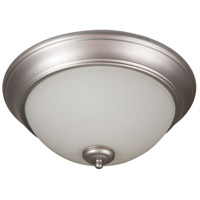 Pro Builder 3 Light 15 inch Brushed Satin Nickel Flush Mount Ceiling Light in White Frosted Glass