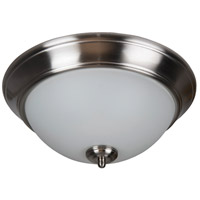 Pro Builder 3 Light 15 inch Brushed Polished Nickel Flush Mount Ceiling Light in White Frosted Glass