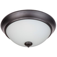 Craftmade XP15FB-3W Pro Builder 3 Light 15 inch White Flushmount Ceiling Light in Flat Black White Frosted Glass