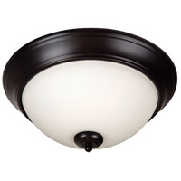 Pro Builder 3 Light 15 inch Oiled Bronze Flushmount Ceiling Light in White Frosted Glass