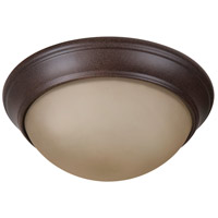 Pro Builder Premium 2 Light 11 inch Aged Bronze Textured Flushmount Ceiling Light in Amber Twist