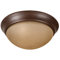 Pro Builder Premium 3 Light 15 inch Aged Bronze Textured Flushmount Ceiling Light in Amber Twist
