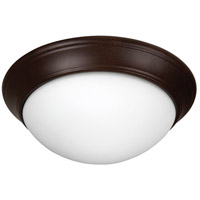 Pro Builder Premium 3 Light 15 inch Aged Bronze Textured Flush Mount Ceiling Light in White Twist