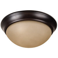 Craftmade XPP15OB-3A Pro Builder Premium 3 Light 15 inch Oiled Bronze Flushmount Ceiling Light in Amber Frost Glass