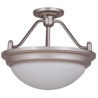 Pro Builder Premium 2 Light 15 inch Brushed Satin Nickel Semi Flush Mount Ceiling Light, Jeremiah,Convertible to Pendant