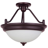 Craftmade XPS15ABZ-2W Pro Builder 2 Light 15 inch Aged Bronze Brushed Semi-Flushmount Ceiling Light in White Frosted Glass Convertible