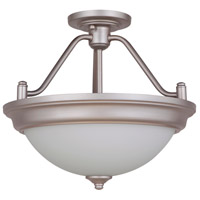 Craftmade XPS15BN-2W Pro Builder 2 Light 15 inch Brushed Satin Nickel Semi-Flushmount Ceiling Light in White Frosted Glass Convertible