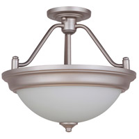 Craftmade XPS15BNK-2W Pro Builder 2 Light 15 inch Brushed Polished Nickel Semi-Flushmount Ceiling Light in White Frosted Glass Convertible