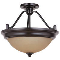 Craftmade XPS15OB-2A Pro Builder 2 Light 15 inch Oiled Bronze Semi Flush Ceiling Light in Amber Frost Glass Convertible