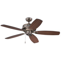 Yorktown 52 inch Legacy Brass with Reversible Walnut and Black Blades Ceiling Fan, Blades Included