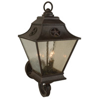 Chaparral 3 Light 25 inch Rust Outdoor Wall Mount in Champagne Seeded