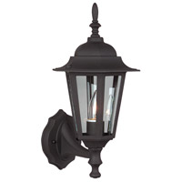 Straight Glass 1 Light 16 inch Textured Matte Black Outdoor Wall Lantern, Small