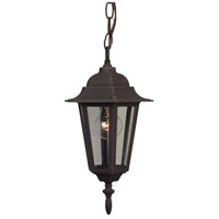 Straight Glass 1 Light 8 inch Rust Outdoor Pendant