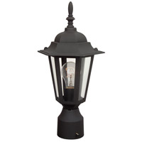 Straight Glass 1 Light 16 inch Textured Matte Black Outdoor Post Light, Small