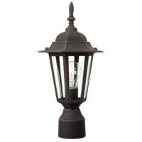 Exteriors by Craftmade Straight Glass 1 Light Post Mount in Rust Z155-07