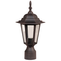 Craftmade Z155-RT Straight Glass 1 Light 16 inch Rust Outdoor Post Light, Small