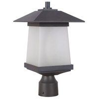 Terrace 1 Light 15 inch Textured Black & Whiskey Barrel Post Mount in White Frosted Glass
